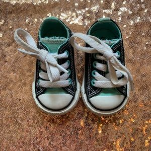 Tiffany blue and black lace up converse